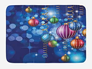 "Ambesonne 圣诞节浴室脚垫,针织风格图案驯鹿图案星和雪花节日家庭主题,毛绒浴室装饰垫,防滑背衬,红色绿色白色 Multi 11 29.5"" W By 17.5"" L bath_20076"