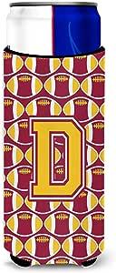 Caroline's Treasures CJ1081-DLITERK Letter D Football Maroon and Gold Wine Bottle Koozie Hugger, 750ml, Multicolor