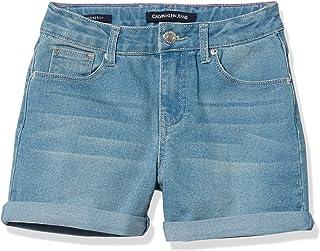 Calvin Klein 女童彩色卷边牛仔短裤