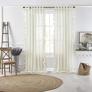 Elrene Home Fashions Bella Tab-Top 褶皱透明窗帘面板,适用于客厅、餐厅、卧室,52 英寸 x 84 英寸(1,象牙色