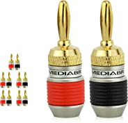Mediabridge ULTRA Series Fast-Lock Banana Plugs - Corrosion-Resistant 24K Gold-Plated Connectors - 5 Pair Per Package - (Part