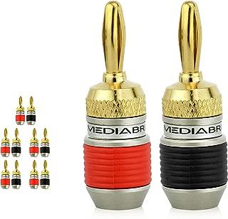 Mediabridge ULTRA Series Fast-Lock Banana Plugs - Corrosion-Resistant 24K Gold-Plated Connectors - 5 Pair Per Package - (Part# SPC-BP2-5)