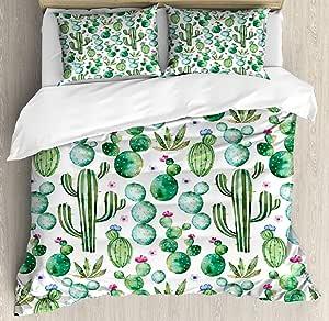 绿色装饰羽绒被套套件 ambesonne ,墨西哥德州仙人掌植物 spikes 卡通 LIKE 艺术印刷品,装饰床上用品套装,带有的枕套,白色浅粉色 LIME green