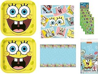 Spongebob SquarePants 生日派对套装,16 份包括午餐盘、餐巾纸、桌布、贴纸