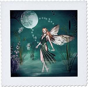 renderly Yours fairies–FAIRY Mist 与月亮和蜻蜓–方块拼布