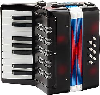 经典 Bambino negro 儿童手风琴 (自3岁, 17成绩按钮, 8低音, 可调肩带 - 穿皮带, 黑色)