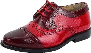 LIBERTYZENO 男孩系带徒步礼服鞋 EEL 皮肤印花儿童真皮滑翔鞋(幼儿/小童/大童) 酒红色 5 Toddler