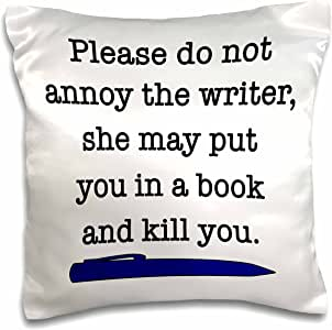 evadane–引语–please DO not annoy THE WRITER *蓝–枕套