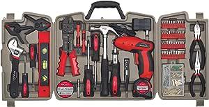 Apollo Tools DT0738 161 件全套家用工具套件,含 4.8 伏无线螺丝刀和*实用的手部工具和 DIY 配件 161 pc. DT0738