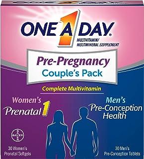 One A Day 男女孕前多种维生素,包括维生素A,维生素C,维生素D,B6,B12,叶酸等,30 + 30粒,产前,产中和产后补充剂