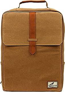 帆布背包,书架背包,耐用旅行和笔记本电脑背包,男女皆宜的包 卡其色 12 * 16 * 4.5
