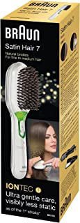 Braun 博朗 Satin Hair 7 BR 750 发梳,带离子技术和天然鬃毛,平滑发梳带负离子效果 白色