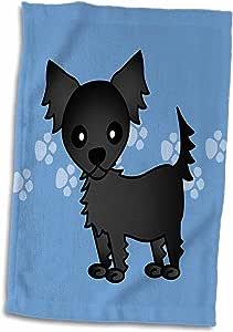 """3dRose Janna Salak 设计狗狗 - 可爱的黑色长毛吉娃娃蓝色,带爪印 - 毛巾 白色 15"""" x 22"""" twl_28466_1"""