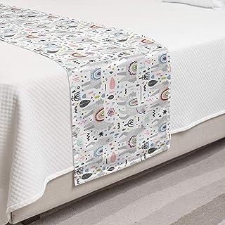 Ambesonne Childish 床巾,动物主题 手绘 灰色 Lamas 图像抽象艺术,装饰性床上用品围巾适用于酒店家庭和客房,单人床,灰色白色