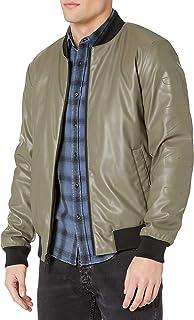 DKNY 男式人造革飞行员夹克,带压花袖子