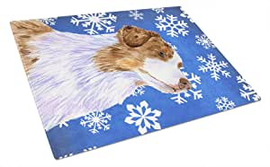 Caroline's Treasures LH9273LCB Australian Shepherd Winter Snowflakes Holiday Glass Cutting Board, Large, Multicolor