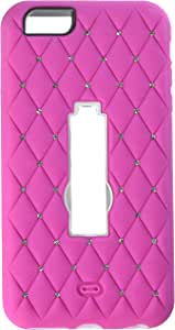 Eagle Cell Spot Diamond Hybrid Armor Protective Case with Stand for Apple iPhone 6 Plus - Retail Packaging - White/Hot Pink