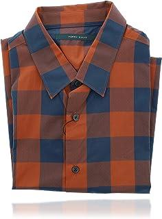 Perry Ellis 男式 Collard 系扣短袖设计师衬衫(L 码)红色和蓝色