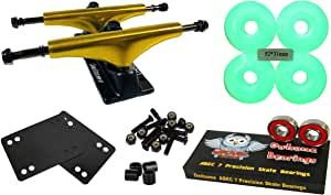 Owlsome 5.25 金属金色/黑色铝制滑板卡车,52 毫米车轮组合套装
