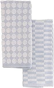 Cuisinart 美膳雅 * 纯棉厨房毛巾,2 条装 - 柔软吸水性厨房毛巾,非常适合擦干餐具和手 - 卫生可漂白厨房毛巾,适合日常使用,16 x 27 浅蓝色 BES24937