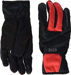 Gore Wear 男士防风保暖手套 - 黑色/红色,尺码:8