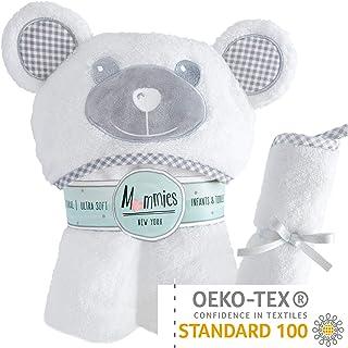 Organic Bamboo 婴儿连帽浴巾和毛巾套装 - 超柔软 - 吸水性强 - 带可爱耳朵帽子的儿童毛巾 - 婴儿或幼儿连帽浴巾 - 新生儿礼物礼物礼物注册表,适合女孩、男孩 Silky Grey Ears