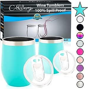 葡萄酒杯 Teal/aqua blue 2 Tumblers