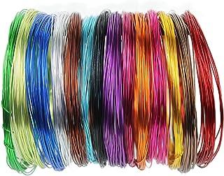 14 卷彩色铝制工艺线 1mm 柔性金属艺术花卉珠宝串珠线,用于 DIY 珠宝工艺制作,每卷 87.9 cm,14 种颜色