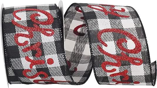 Reliant Ribbon 93478W-984-40F 圣诞快乐闪光水牛格斜纹线边缘丝带,黑色/白色
