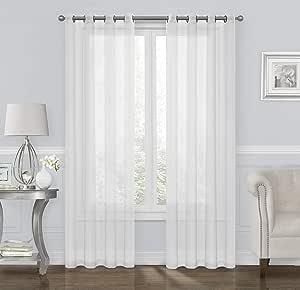 GoodGram 2 件装超奢华编织优雅纯色扣眼窗帘板 - 各种颜色 白色 B018MRJHZ6