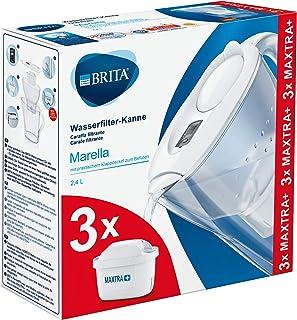 BRITA 碧然德 Marella 滤水壶 初次使用套装,包括 3 个 MAXTRA +滤芯,白色 - 冰箱适用款