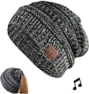 BGJOY 音乐帽无线无檐小便帽内置立体声扬声器麦克风无线耳机无檐小便帽同步通话音乐适用于所有蓝牙智能手机礼物男女男孩女孩