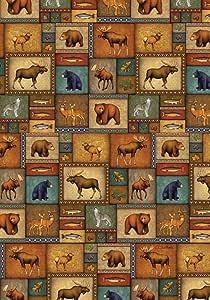 Toland Home 花园绗缝野生植物 31.75 x 45.72 cm 装饰野生动物拼贴熊驼鹿狼鱼花园旗帜