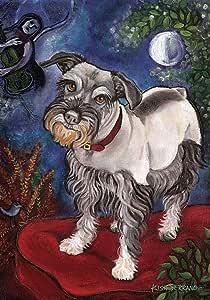 Toland Home Garden Chagrowl Schnauzer 12.5 x 18 Inch Decorative Puppy Dog Portrait Garden Flag