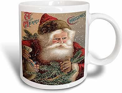 3drose BLN 复古圣诞设计–复古圣诞老人 clause with A SACK OF 玩具和 Tree 和 snowing–马克杯 红色 11 oz