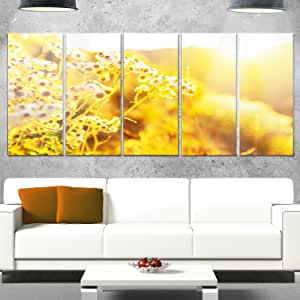 "设计艺术大花金属墙壁艺术 黄色 60x28"" - 5 Equal Panels MT12550-401"
