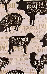 """Farmer's Market 奶牛、猪、羊和鸡图案乙烯基法兰绒背桌布 """"Multi"""" 52"""" x 70"""" Oblong"""