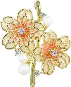 Gyn&Joy 镀铑珍珠粉奶油白色树脂搪瓷 Sakura CZ 樱花胸针女式 BZ263