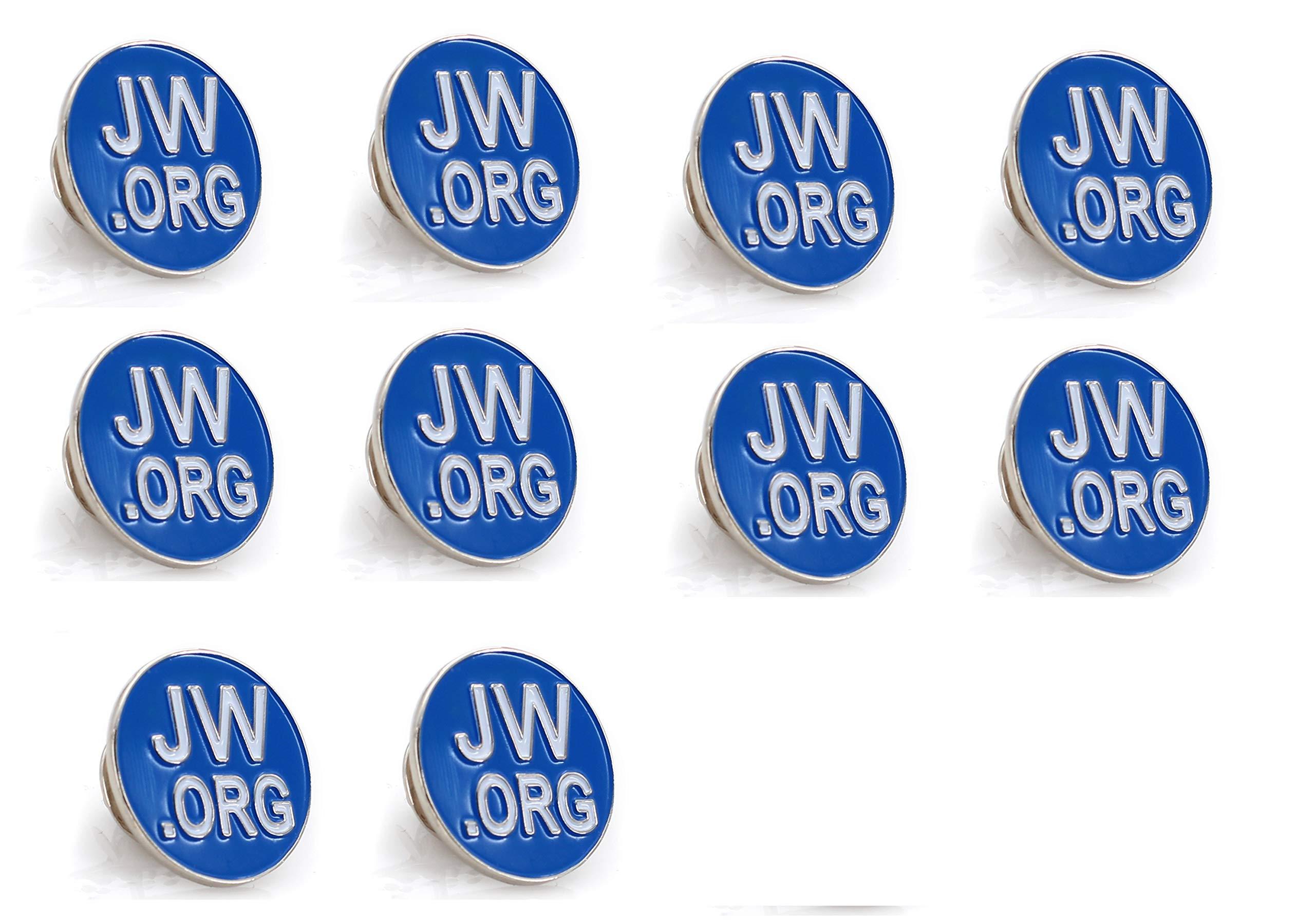 Jehovah Witness - JW.Org 翻领别针 - JW.org 领带帽 Tack Clip 女士或男士西装-圆形或方形 Silver Round Pin-10 Pcs
