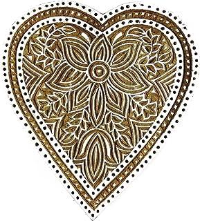 """手工雕刻心形花卉印花块木制陶器邮票块拼图 棕色 5.5"""" L x 5"""" W Inches PB1955"""