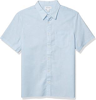Calvin Klein 男式短袖輕質棉麻系扣襯衫