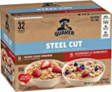 Quaker Quick Cook Steel Cut Insant Oatmeal, 2 Flavor Variety Pack, Individual Packets (32 Pack)