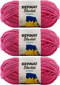 批量购买:Bernat 毛毯纱(3 件装)超厚 #6,5.3 盎司每束 108 码固体和渐变色 Pixie Pink X大码 161213/161200