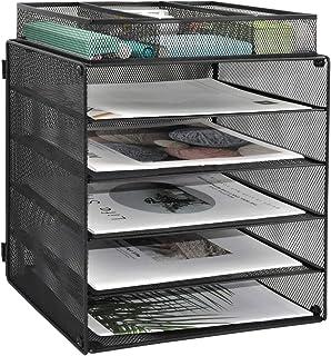 EASEPRES 丝网桌面收纳托盘,5 层文件纸信纸托盘,带 1 个额外的文件分类器,适用于家庭、办公室或学校,黑色