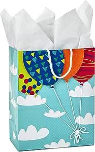 Hallmark 中号礼品袋带薄纸(黄色波浪纹) Medium Balloons 中 5WDB5994