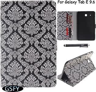 GALAXY Tab E 9.6保护套 newshine 彩色皮革手机壳内置卡槽/现金插槽支架 skin with [ 手写笔支架 ] 适用于 Samsung Galaxy Tab E 9.6[ 不适用于 TAB E NOOK 9.6] 2 Flower Totem