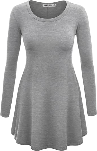 LL Womens Long Sleeve Scoop Neck Trapeze Tunic - Made in USA  Wt767_heather_grey Large