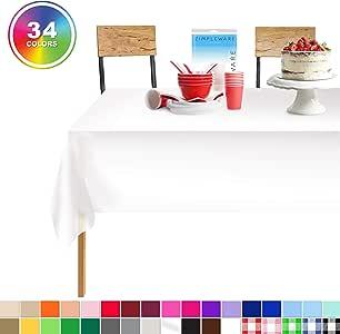 标准塑料派对桌布 137.16 厘米。 x 108 英寸。 Zimpleware 矩形桌套 6-12 件装 白色 12 Pack Rectangle