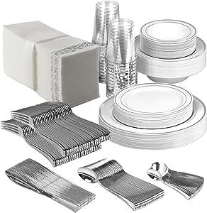 25 个客人一次性银色派对餐具套装 | 重型塑料盘子和银具 | 婚礼餐具套装包括 50 个叉子、25 个勺子、25 个刀子、25 个餐盘 银色 Party In a Box XL