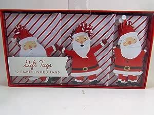 礼品标签 12 个装饰标签 圣诞老人